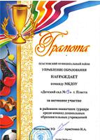 Грамота за активное участие в районном шашечном турнире среди воспитанников МКДОУ (апрель 2019 год)